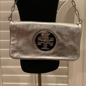 Tori Burch Silver Clutch